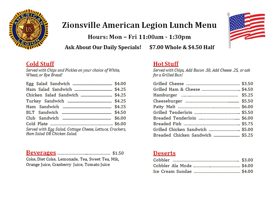 Lunch 1 Menu