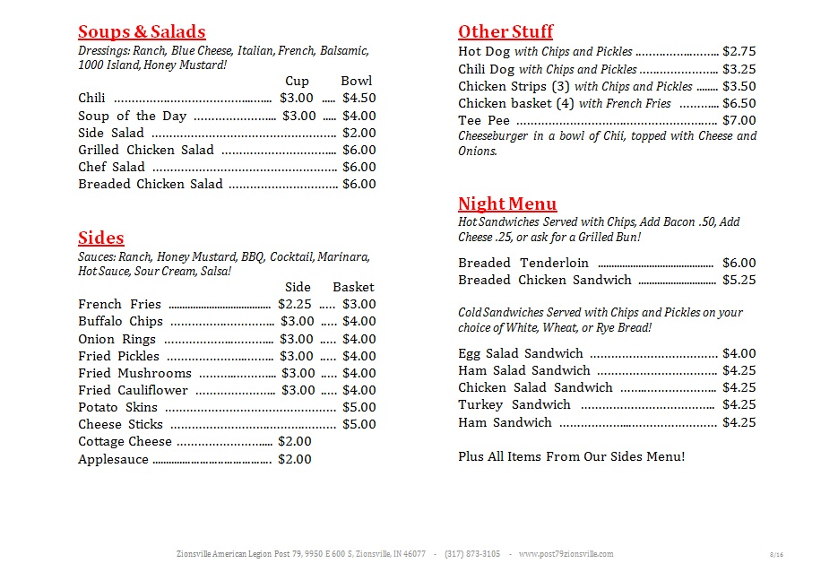Lunch 2 Menu